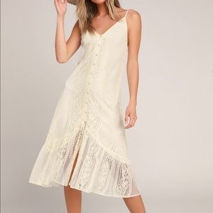 Cream Lacey midi dress